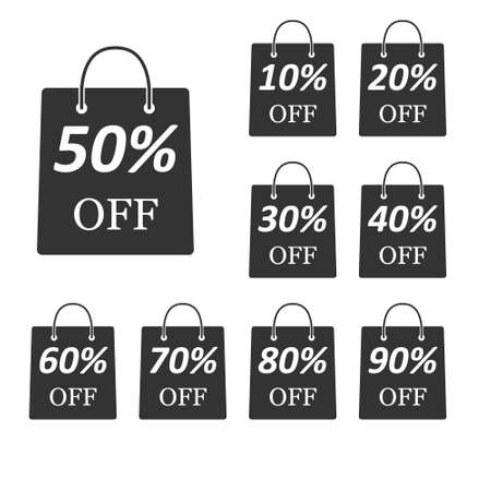 Package with the discount amount. A set of simple vector icons isolated on a white background