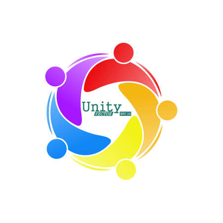 team of like-minded people, friends or colleagues. Creative vector illustration for banner, sticker or logo isolated on white background 向量圖像