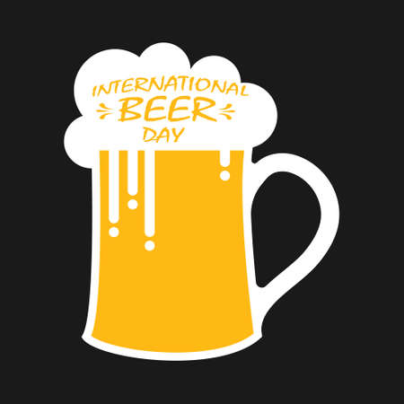 mug of beer with foam and the inscription INTERNATIONAL DAY. Flat design. 向量圖像
