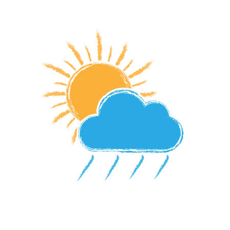 sun behind a cloud with rain. Vector illustration for weather, nature, or children's theme design isolated on a white background