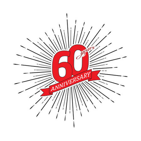 Congratulations on the 60 years anniversary. Editable vector illustration. The number 60 on the background of a salute with a congratulatory red ribbon 向量圖像