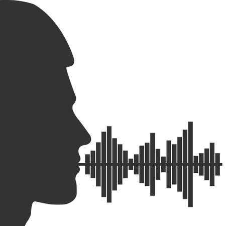 Male voice spectrum. Male head silhouette and voice spectrum. Vector illustration for theme design isolated on white background 向量圖像