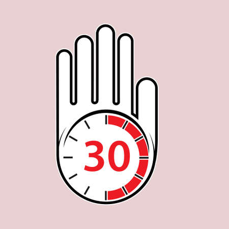 raised, open hand with a watch on it. Time for rest or break, pause. 30 minutes or seconds. Flat design. 向量圖像