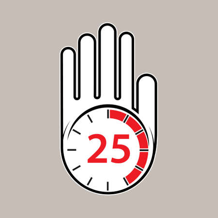 raised, open hand with a watch on it. Time for rest or break, pause. 25 minutes or seconds. Flat design.