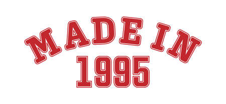 MADE IN 1995. Lettering of the year of birth or a special event for printing on clothing, logos, stickers, banners and stickers, isolated on a white background
