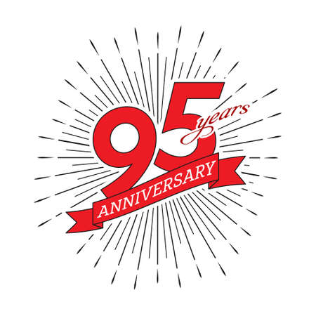 95th anniversary. Greeting inscription with salute and ribbon, vector illustration isolated on white background 向量圖像