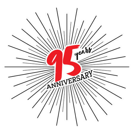 Congratulations on the 95 years anniversary. Editable vector illustration. Number 95 on the background of fireworks