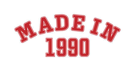 MADE IN 1990. Lettering of the year of birth or a special event for printing on clothing, logos, stickers, banners and stickers, isolated on a white background