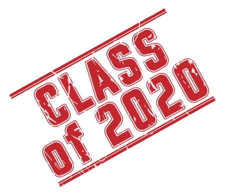 Stamp CLASS of 2020 with scuff on a white background. The grunge style. Vector illustration