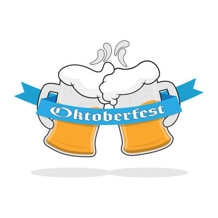 Two mugs of beer with foam and a ribbon with the words Oktoberfest. Vector illustration. Flat design.