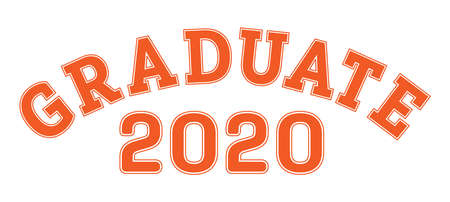 Graduated in 2020. Lettering for a senior class, reunion, or special event. Vector for printing on clothing, logos, stickers, banners and stickers, isolated on a white background