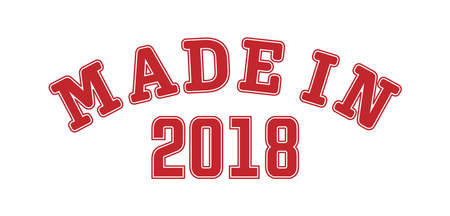 MADE IN 2018. Lettering of the year of birth or a special event for printing on clothing, stickers, banners and stickers, isolated on a white background