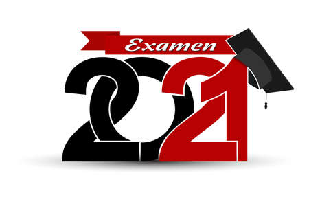 Class and graduates of 2021 with a graduation cap. Vector illustration for design and theme design. Language Swedish