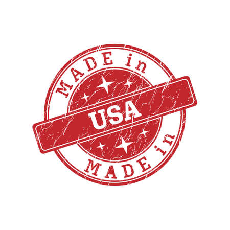 An impression of a seal with the inscription MADE in USA, isolated on a white background Ilustrace