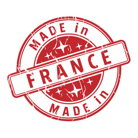 An impression of a seal with the inscription MADE in FRANCE, isolated on a white background