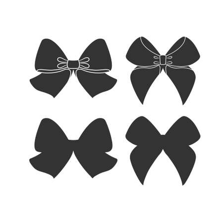 set of bows. Vector illustration isolated on white background, simple design 일러스트