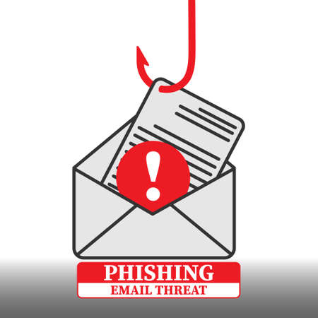 Vector illustration on the topic of electronic fraud. Phishing. Email Threat