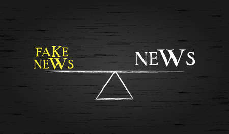 balance of opposites. On the scales of news and fake news, conceptual vector illustration