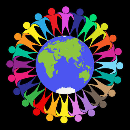 Colored people stand in an embrace around the globe. Vector illustration isolated on a white background Ilustração