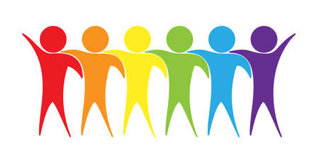 People hug. Silhouettes of people in LGBT colors. Vector illustration isolated on a white background
