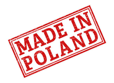 Stamp with the inscription MADE in POLAND, isolated on a white background,