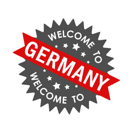 Welcome to GERMANY. Round label with red ribbon. Vector illustration isolated on a white background
