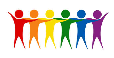 People hug. Silhouettes of people in LGBT colors. Vector illustration isolated on a white background Banco de Imagens - 153322311
