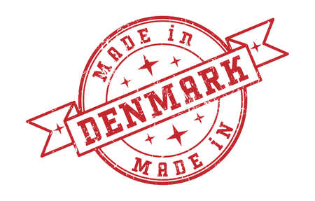 An impression of a seal with the inscription MADE in DENMARK, isolated on a white background