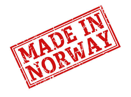 Stamp with the inscription MADE in NORWAY, isolated on a white background,