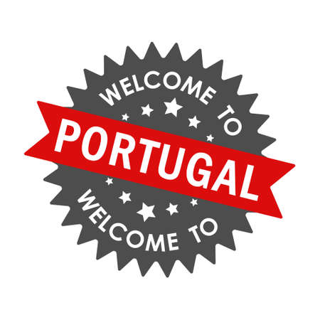 Welcome to PORTUGAL. Round label with red ribbon. Vector illustration isolated on a white background