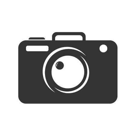 Template with a camera silhouette, for a photographer, photo Studio and creative company, isolated on a white background