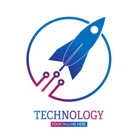 Space technology. The rocket breaks out of the circle. Vector illustration for a logo, sticker, or emblem isolated on a white background