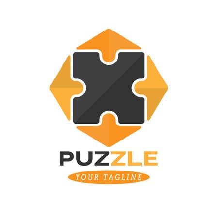 Logo puzzle. Color vector illustration for logo, sticker or emblem