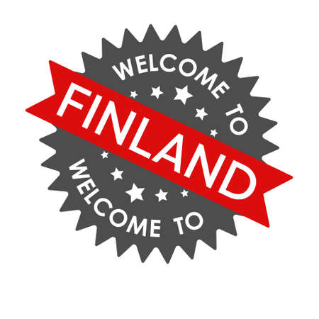 Welcome to FINLAND. Round label with red ribbon. Vector illustration isolated on a white background Векторная Иллюстрация
