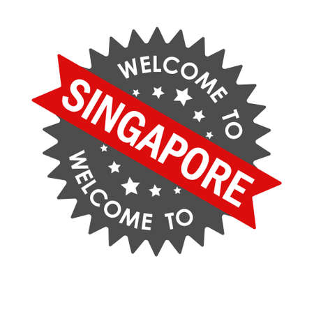 Welcome to SINGAPORE. Round label with red ribbon. Vector illustration isolated on a white background