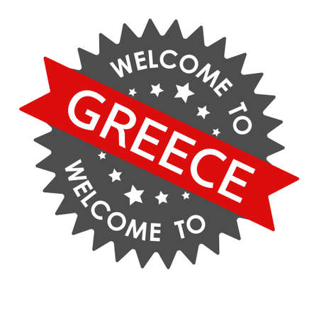 Welcome to GREECE. Round label with red ribbon. Vector illustration isolated on a white background Векторная Иллюстрация
