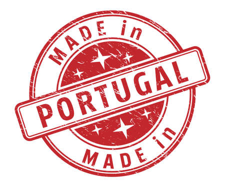 An impression of a seal with the inscription MADE in PORTUGAL, isolated on a white background