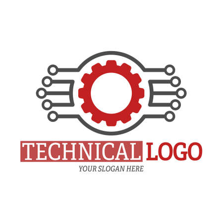 Technical logo. Color vector illustration for logo, sticker or label, modern design isolated on white background