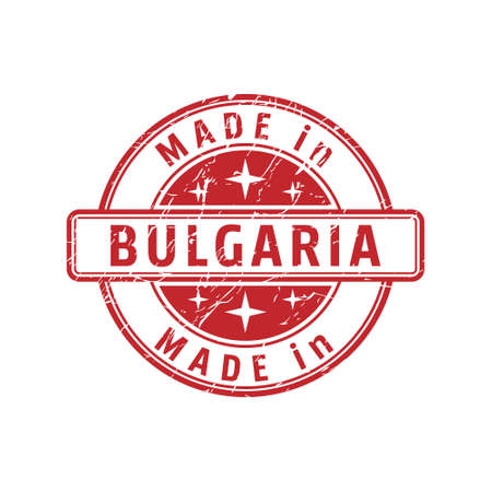An impression of a seal with the inscription MADE in BULGARI, isolated on a white background Ilustrace