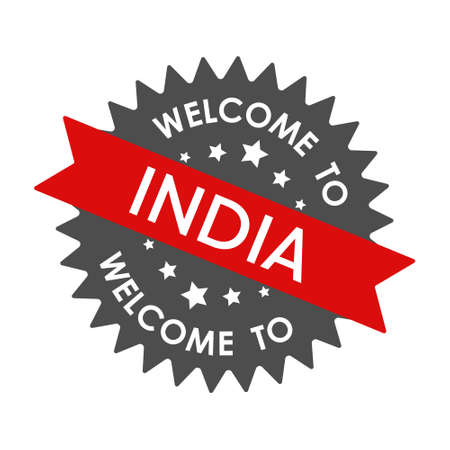 Welcome to INDIA. Round label with red ribbon. Vector illustration isolated on a white background