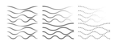 Set of curved lines for creative design, isolated on a white background 向量圖像