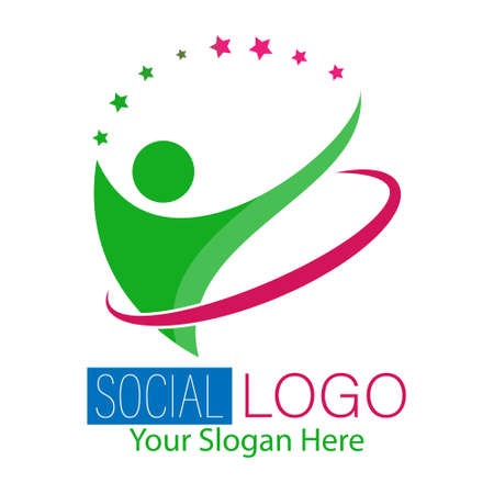 Social logo. Vector illustration for a logo, brand, sticker, or logo isolated on a white background