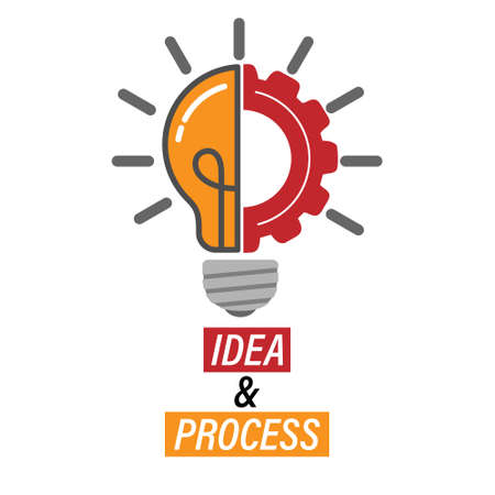 Idea and Progress. Lamp and gear. Editable vector illustration for website, booklet, project, and creative design. Stock image isolated on a white background. 向量圖像
