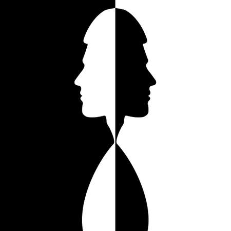 Two silhouettes of a male head are turned away from each other on a black and white background. Stock illustration