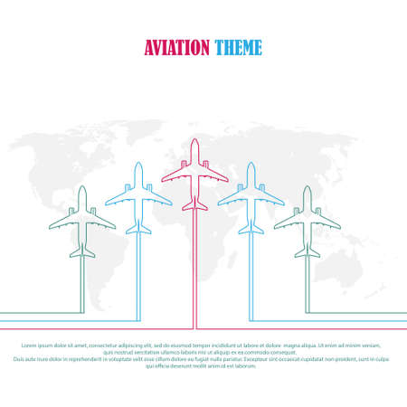 aviation theme. Concept stock illustration for the design of a poster, postcard banner, background, or title page.