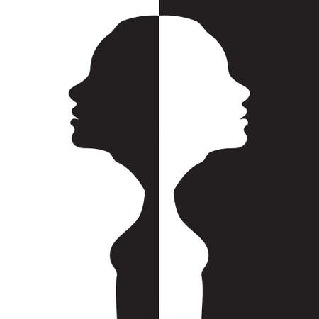 Two silhouettes of a woman head are turned away from each other on a black and white background. Stock illustration
