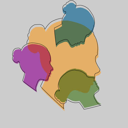 concept of personality diversity. two contours and silhouettes of a male and female face. Stock illustration