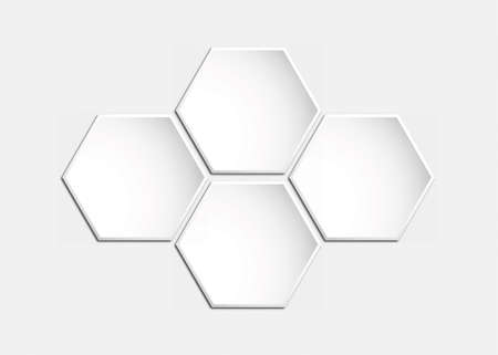 Template for infographics of hexagons, honeycombs. Blank for illustration, plan, strategy, articles, reviews, and Analytics. Stock vector illustration. Vetores