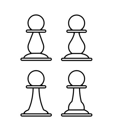 set of chess pawns. Vector icon, flat style