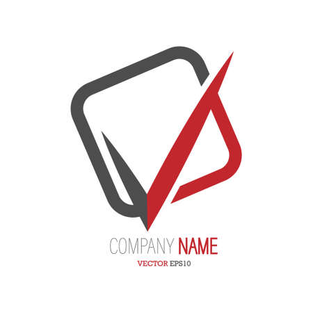 check mark separates the square. Blank for a logo, brand, or sticker. Stock illustration